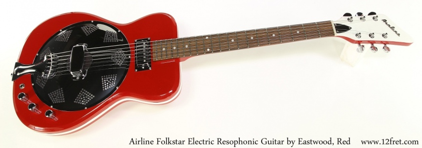 Airline Folkstar Electric Resophonic Guitar by Eastwood, Red, Full Front View