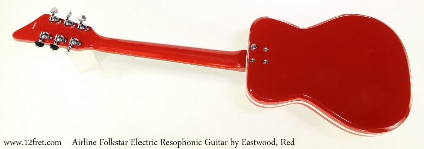 Airline Folkstar Electric Resophonic Guitar by Eastwood, Red, Full Rear View