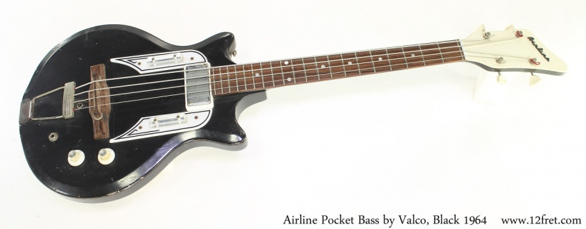 Airline Pocket Bass by Valco, Black 1964 Full Front View