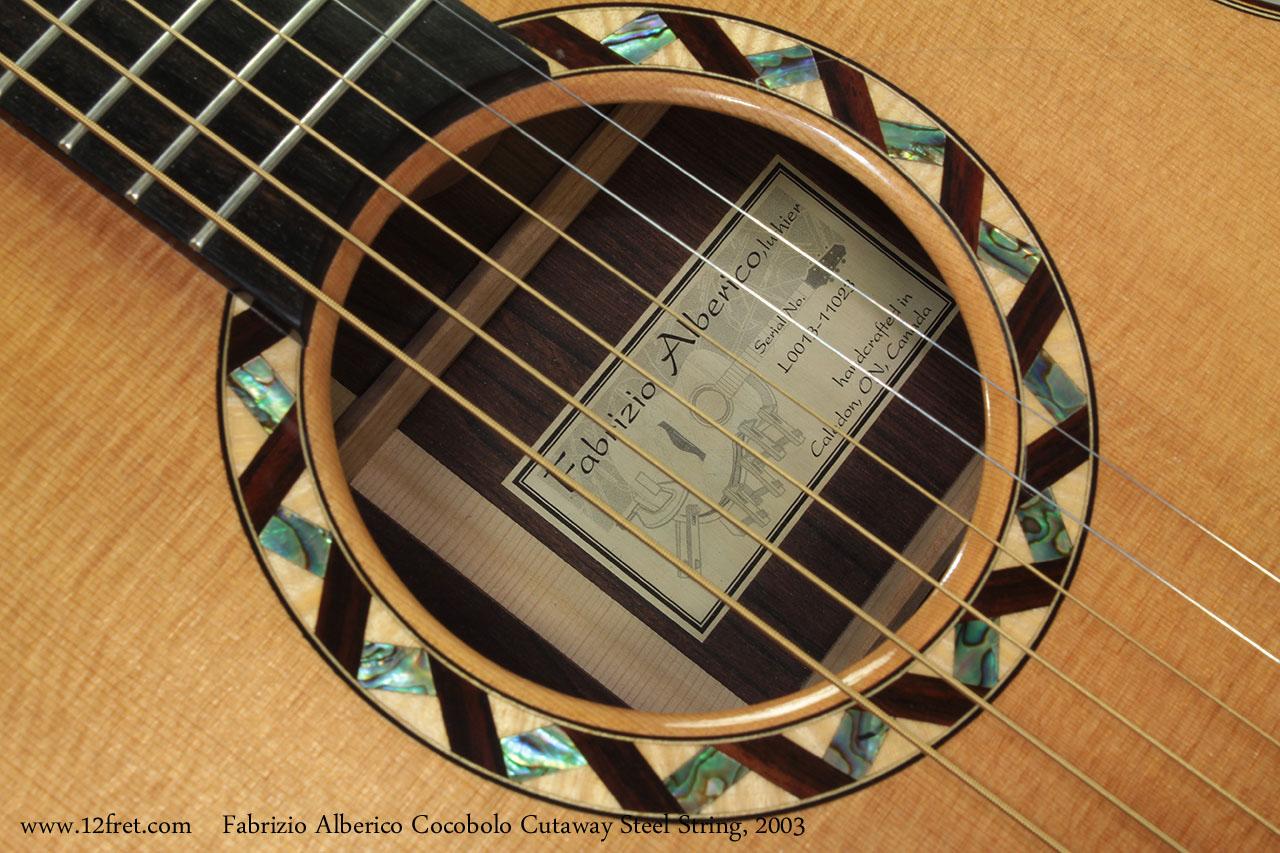 Fabrizio Alberico Cocobolo Cutaway Steel String, 2003 Label