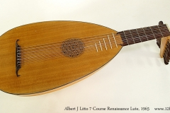 Albert J Litto 7 Course Renaissance Lute, 1965 Full Front View