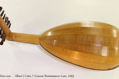 Albert J Litto 7 Course Renaissance Lute, 1965 Full Rear View