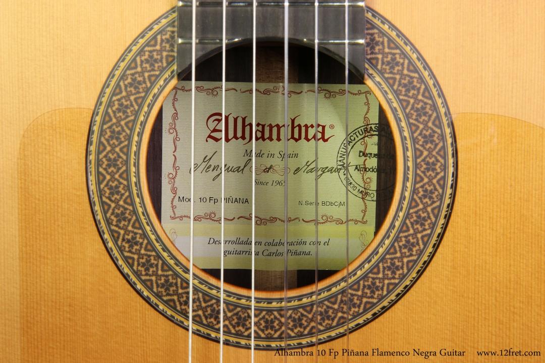 Alhambra 10 Fp Pinana Flamenco Negra Guitar Label View