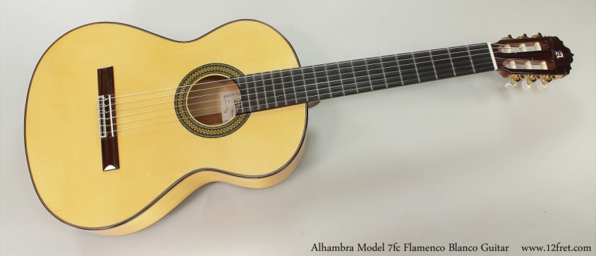 Alhambra Model 7fc Flamenco Blanco Guitar  Full Front View