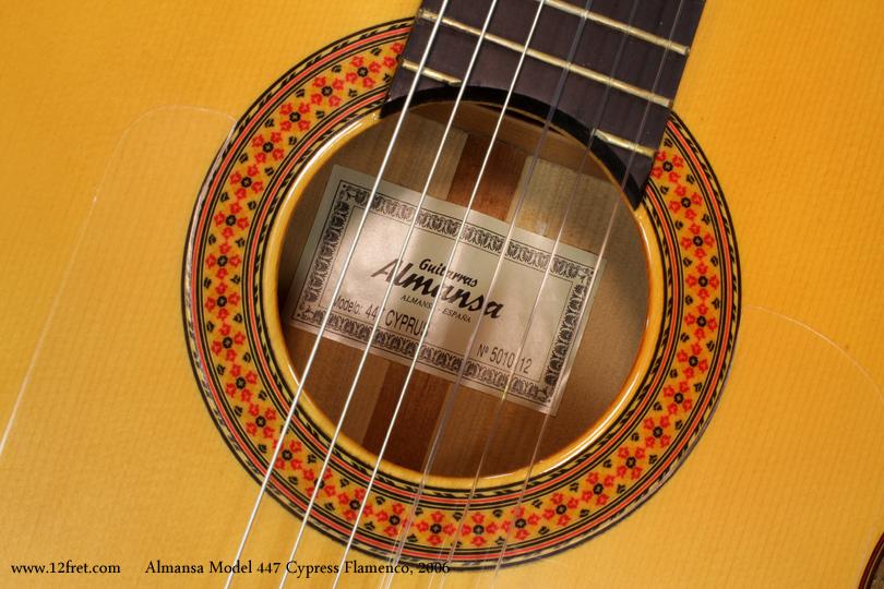 Almansa Model 447 Cypress Flamenco, 2006  label