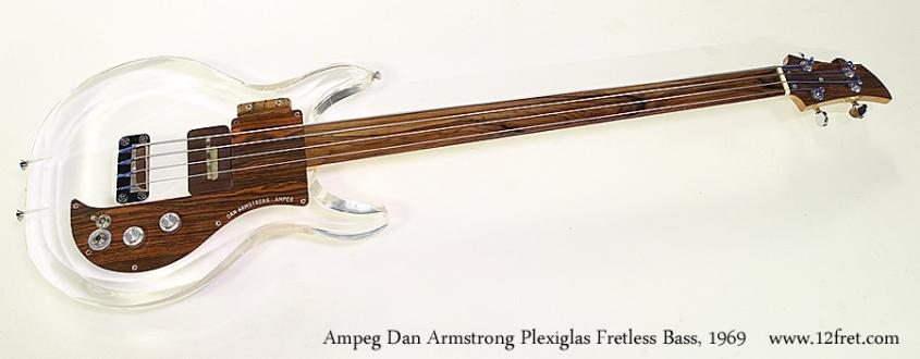 Ampeg Dan Armstrong Plexiglas Fretless Bass, 1969 Full Front View