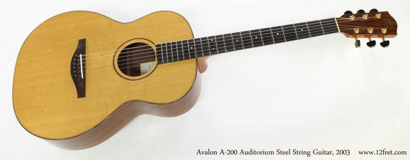 Avalon A-200 Auditorium Steel String Guitar, 2003  Full Front View