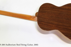 Avalon A-200 Auditorium Steel String Guitar, 2003  Full Rear View