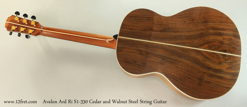 Avalon Ard Ri S1-330 Cedar and Walnut Steel String Guitar Full Rear View