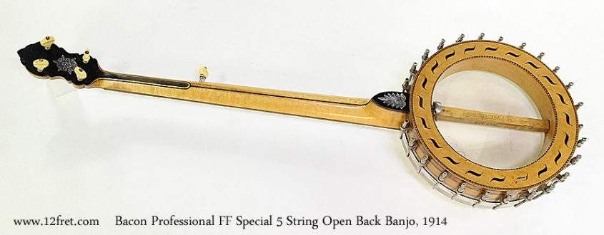 Bacon Professional FF Special 5 String Open Back Banjo, 1914 Full Rear View