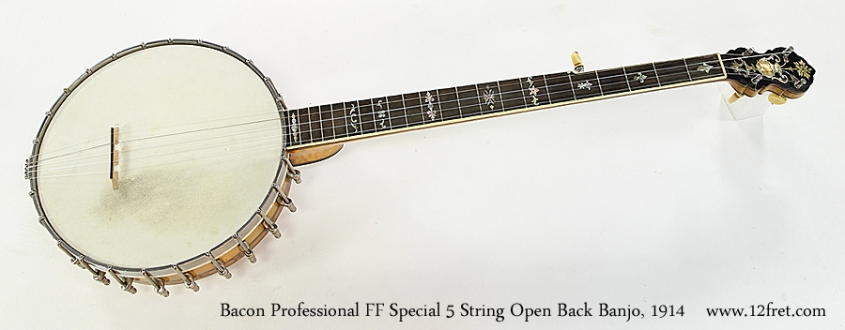 Bacon Professional FF Special 5 String Open Back Banjo, 1914 Full Front View