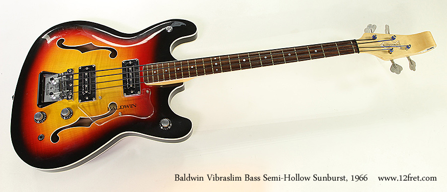 Baldwin Vibraslim Bass Semi-Hollow Sunburst, 1966 Full Front View