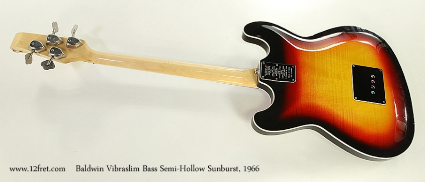 Baldwin Vibraslim Bass Semi-Hollow Sunburst, 1966 Full Rear View