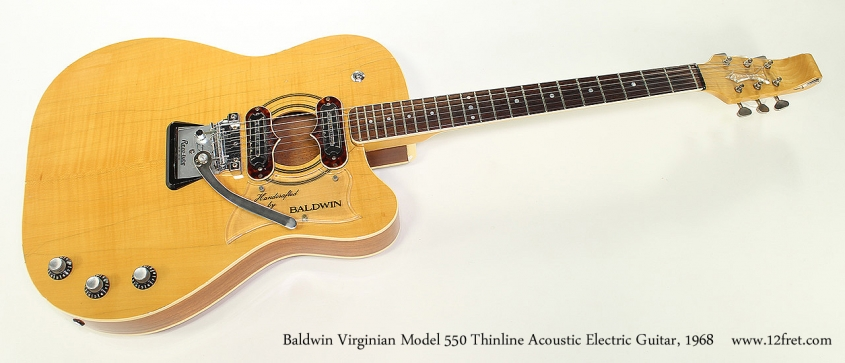 Baldwin Virginian Model 550 Thinline Acoustic Electric Guitar, 1968 Full Front View