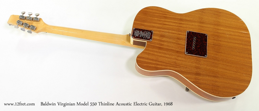 Baldwin Virginian Model 550 Thinline Acoustic Electric Guitar, 1968 Full Rear View