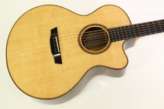 G W Barry Mod C Ziricote Cutaway Steel String Guitar, 2018   Top View