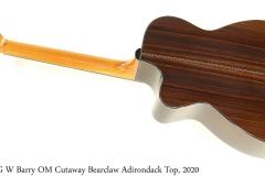 G W Barry OM Cutaway Bearclaw Adirondack Top, 2020 Full Rear View