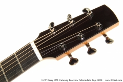 G W Barry OM Cutaway Bearclaw Adirondack Top, 2020 Head Front View