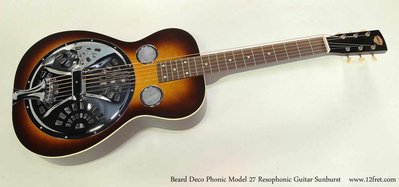 Beard Deco Phonic Model 27 Resophonic Guitar Sunburst Full Front View