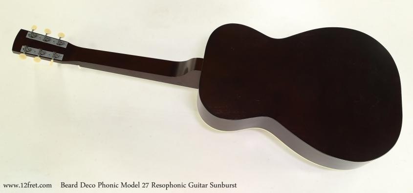 Beard Deco Phonic Model 27 Resophonic Guitar Sunburst Full Rear View