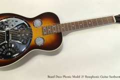 Beard Deco Phonic Model 27 Resophonic Guitar Sunburst Full Front View