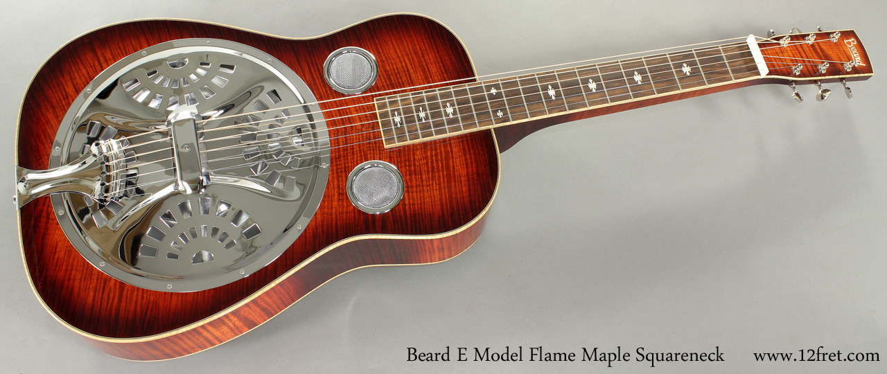 Beard E Model Flame Maple Squareneck Resophonic full front view