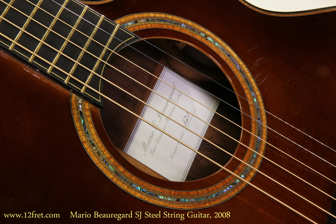Mario Beauregard SJ Steel String Guitar, 2008   Rosette and Label View