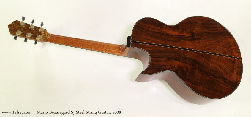 Mario Beauregard SJ Steel String Guitar, 2008   Full Rear View