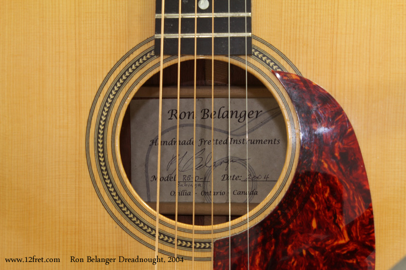 Ron Belanger Bubinga Dreadnought  2004 label