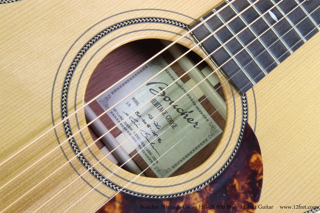 Boucher Heritage Goose HG-26 000 Body 12 Fret Guitar  Label View