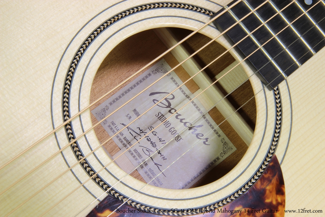 Boucher Studio Goose SG-41 OM Hybrid Mahogany 14 Fret Guitar  Label View