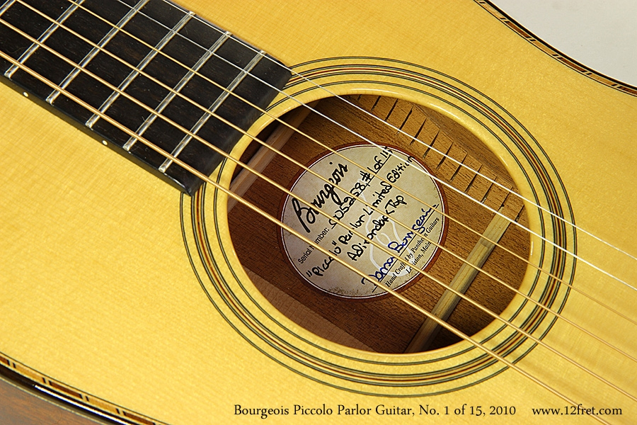 Bourgeois Piccolo Parlor Guitar, No. 1 of 15, 2010 Label View