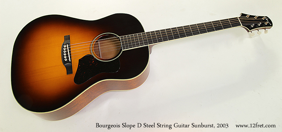 Bourgeois Slope D Steel String Guitar Sunburst, 2003 Full Front View