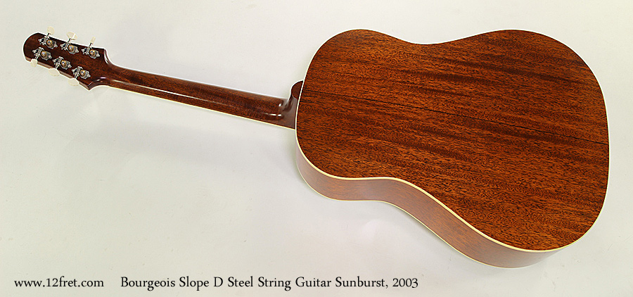 Bourgeois Slope D Steel String Guitar Sunburst, 2003 Full Rear View