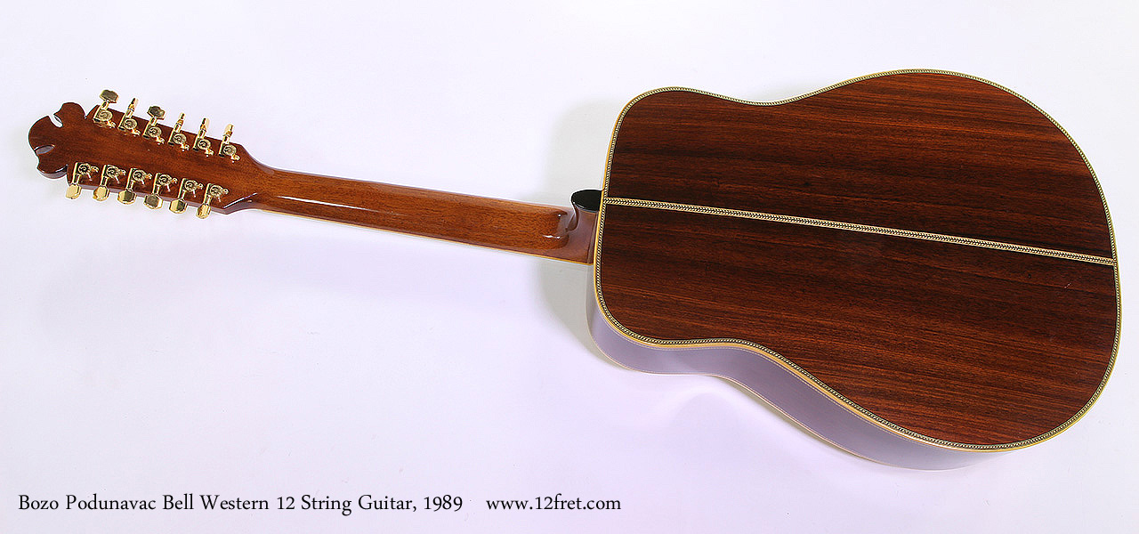 Bozo Podunavac Bell Western 12 String Guitar, 1989 Full Rear VIew