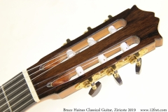 Bruce Haines Classical Guitar, Ziricote 2019 Head Front View