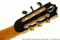 Bruce Haines Classical Guitar, Ziricote 2019 Head Rear View