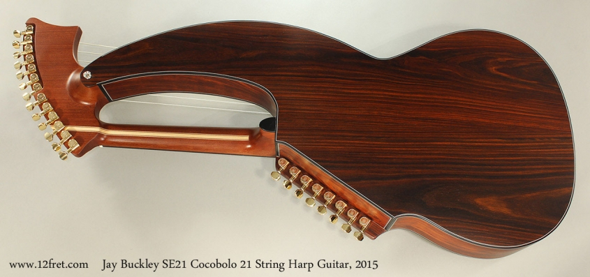 Jay Buckley SE21 Cocobolo 21 String Harp Guitar, 2015 Full Rear View