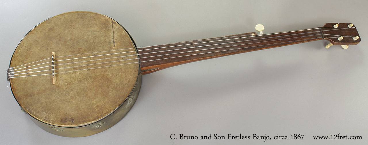C. Bruno and Son Fretless Banjo, 1867 Full Front View