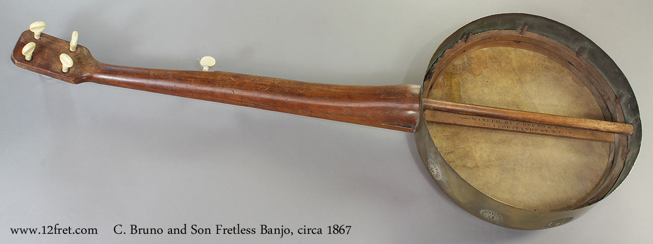 C. Bruno and Son Fretless Banjo, 1867 Full Rear View