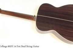 Collings 002H 14 Fret Steel String Guitar Full Rear View