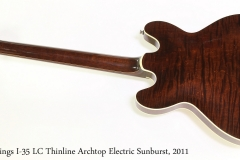 Collings I-35 LC Thinline Archtop Electric Sunburst, 2011   Full Rear View