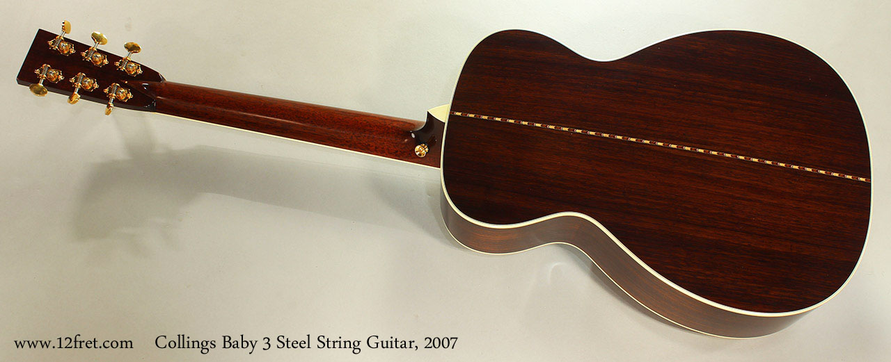 Collings Baby 3 Steel String Guitar, 2007 Full Rear View
