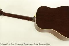 Collings CJ-35 Slope Shouldered Dreadnought Guitar Sunburst, 2014  Full Rear View