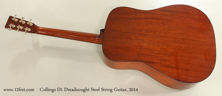 Collings D1 Dreadnought Steel String Guitar, 2014 Full Rear View