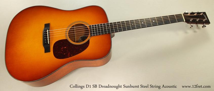 Collings D1 SB Dreadnought Sunburst Steel String Acoustic Full Front View