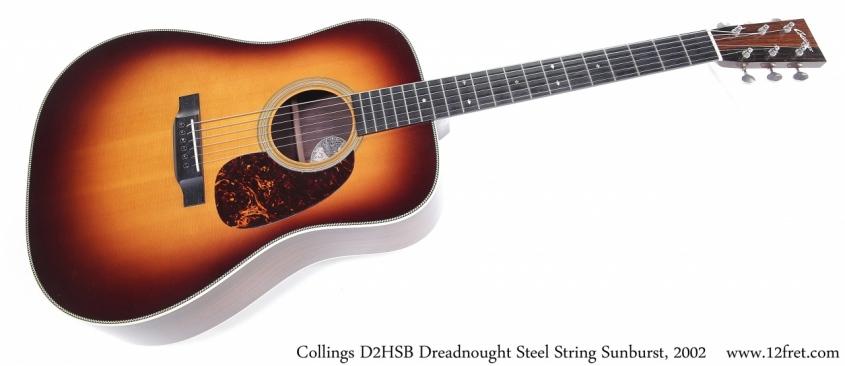 Collings D2HSB Dreadnought Steel String Sunburst, 2002 Full Front View