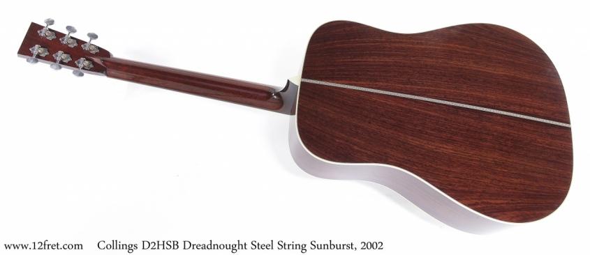 Collings D2HSB Dreadnought Steel String Sunburst, 2002 Full Rear View