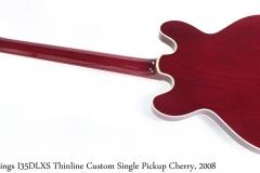 Collings I35DLXS Thinline Custom Single Pickup Cherry, 2008 Full Rear View