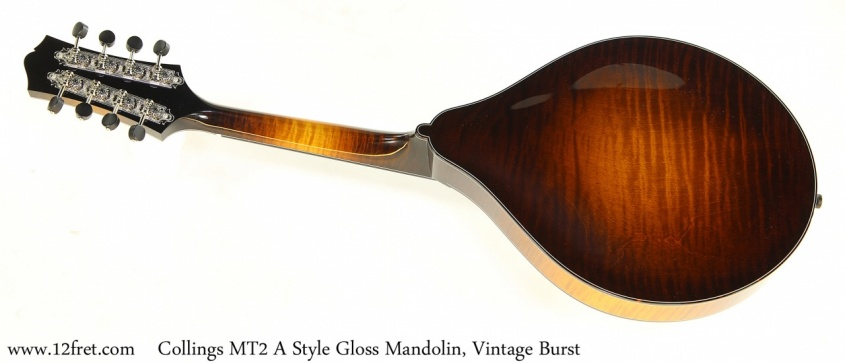 Collings MT2 A Style Gloss Mandolin, Vintage Burst Full Rear View